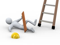 3d injured man - ladder accident Royalty Free Stock Photo