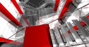 3d Innen. Moderner industrieller Innenraum, Treppe, sauberer Raum herein herein Lizenzfreie Stockfotos