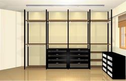 3d Innenarchitektur, geräumige moderne Umkleidekabine Stockbilder