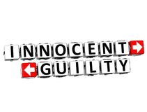 3D Innocent Guilty Button Click Here Block Text. Over white background Stock Photography