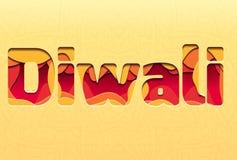 3d inschrijving van het festival Diwali, die van lagen van document met tracery wordt gemaakt Stock Illustratie