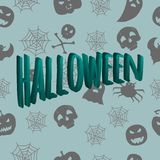 3D inscription Halloween against the background of a seamless pattern with mystical characters. Vector illustration. Hand drawing Stock Image