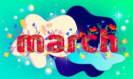 3d inscription of the word `March` stock illustration