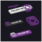 3d Instagram Follow Me Button. For web design and application interface, also useful for infographics. Vector illustration Royalty Free Stock Images