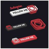 3d Instagram Follow Me Button. For web design and application interface, also useful for infographics. Vector illustration Stock Image