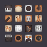 3d instrument icon. Set of 3d classical music instrument icon, retro style Stock Photos