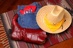 dżinsy buta kapelusza Obrazy Stock