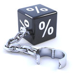 3d Interest rate dice on chain. 3d render of a black interest rate dice on a leg iron stock illustration