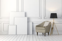 3d interior with arm chair and floor lamp Stock Images
