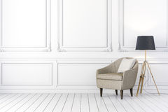 3d interior with arm chair and floor lamp Stock Image