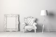 3d interior with arm chair and floor lamp Royalty Free Stock Photo