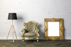3d interior with arm chair and floor lamp Stock Photo