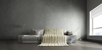 3d interior of big gray room. 3d interior of big room with gray couch in the middle and knitted blanket on it Stock Photo