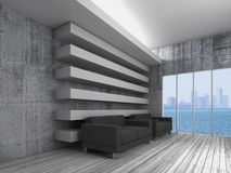 3d interior, black sofas and modern city skyline. Empty white interior background with decoration beams, black leather sofas and modern city skyline in window Royalty Free Stock Photo