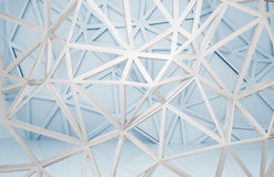 3d interior with chaotic 3d wire frame constructions. Abstract white and blue room interior with chaotic 3d wire frame constructions Royalty Free Stock Photo