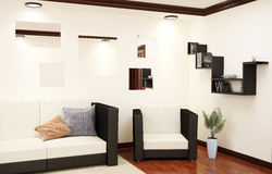3d interior corner of the living room. With a sofa, chair, bookshelves and other interior elements Stock Images