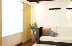 3d interior corner of the living room with a sofa. Plant and other interior elements Stock Photos