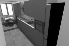 3D interior design B/W Fotografia Stock