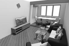 3D interior design B/W Immagini Stock Libere da Diritti