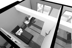 3D interior design B/W Fotografie Stock