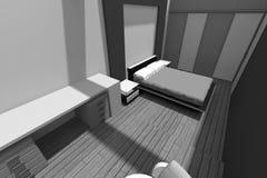 3D interior design B/W Fotografie Stock Libere da Diritti