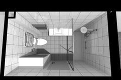 3D interior design B/W Fotografia Stock Libera da Diritti