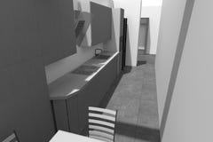 3D interior design B/W Immagine Stock Libera da Diritti