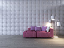 3d interior design living room and pink sofa Royalty Free Stock Photography