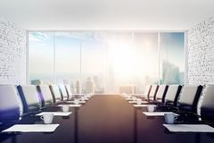 3d interior empty room with a big window frame. Modern office setting Royalty Free Stock Photos