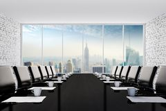 3d interior empty room with a big window frame. Modern office setting Stock Photo