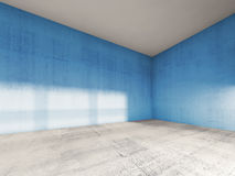 3d interior, empty room with blue concrete walls Stock Images