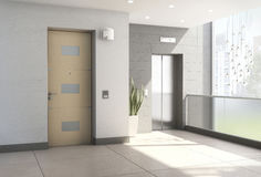 3d Interior of modern entrance hall with elevator Stock Photo