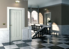 3d Interior of modern entrance hall with staircase Royalty Free Stock Photography