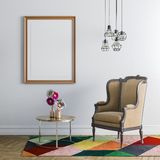 3d interior render with armchair and empty frame. Colourful rug and coffee table Stock Photography