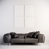 3d interior render with leather couch and blank frame on white wall royalty free illustration