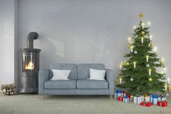 3d interior render of scandinavian living room - christmas - pla Royalty Free Stock Photo