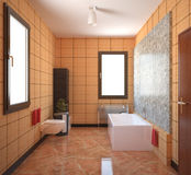 3D interior rendering of a bathroom with furniture. 3D interior rendering of a bathroom Royalty Free Stock Photography