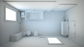 3D interior rendering of a bathroom. With furniture Stock Photo