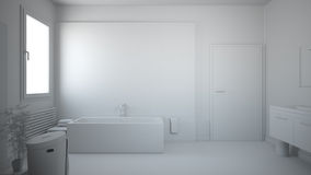 3D interior rendering of a bathroom. With furnitures Stock Photography