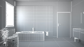 3D interior rendering of a bathroom. With furnitures Royalty Free Stock Image