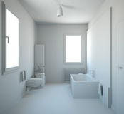 3D interior rendering of a bathroom Royalty Free Stock Photography