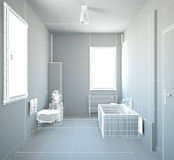 3D interior rendering of a bathroom Stock Photography