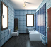 3D interior rendering of a bathroom. With furnitures Royalty Free Stock Photography