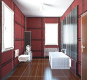3D interior rendering of a bathroom. With furnitures Stock Images