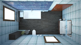 3D interior rendering of a bathroom. With furnitures Royalty Free Stock Photos