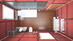 3D interior rendering of a bathroom. With furnitures Royalty Free Stock Photo
