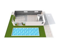 3d interior rendering of empty apartment with swimming pool Stock Photo