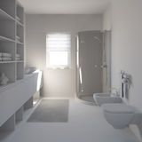 3D interior rendering a modern bathroom Royalty Free Stock Images