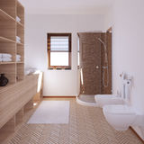 3D interior rendering a modern bathroom. With textures Royalty Free Stock Image