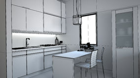 3D interior rendering of a small loft Royalty Free Stock Image